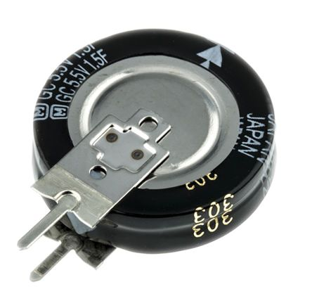 Panasonic 1.5F Supercapacitor EDLC -20 → +80% Tolerance, SG 5.5V dc, Through Hole
