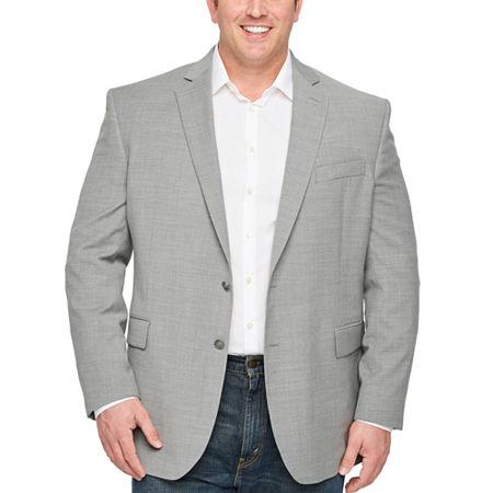 Stafford Mens Hopsack Classic Fit Blazer - Big and Tall, 52 Big Long, Gray
