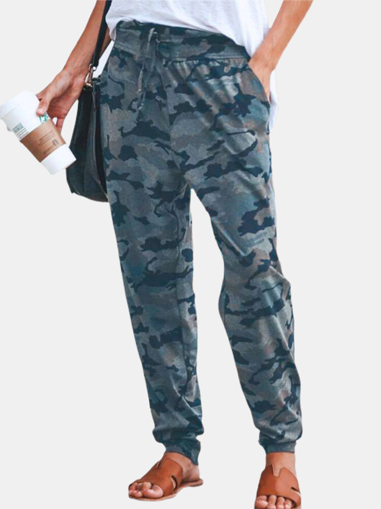 Camouflage Printed Drawstring Pants For Women