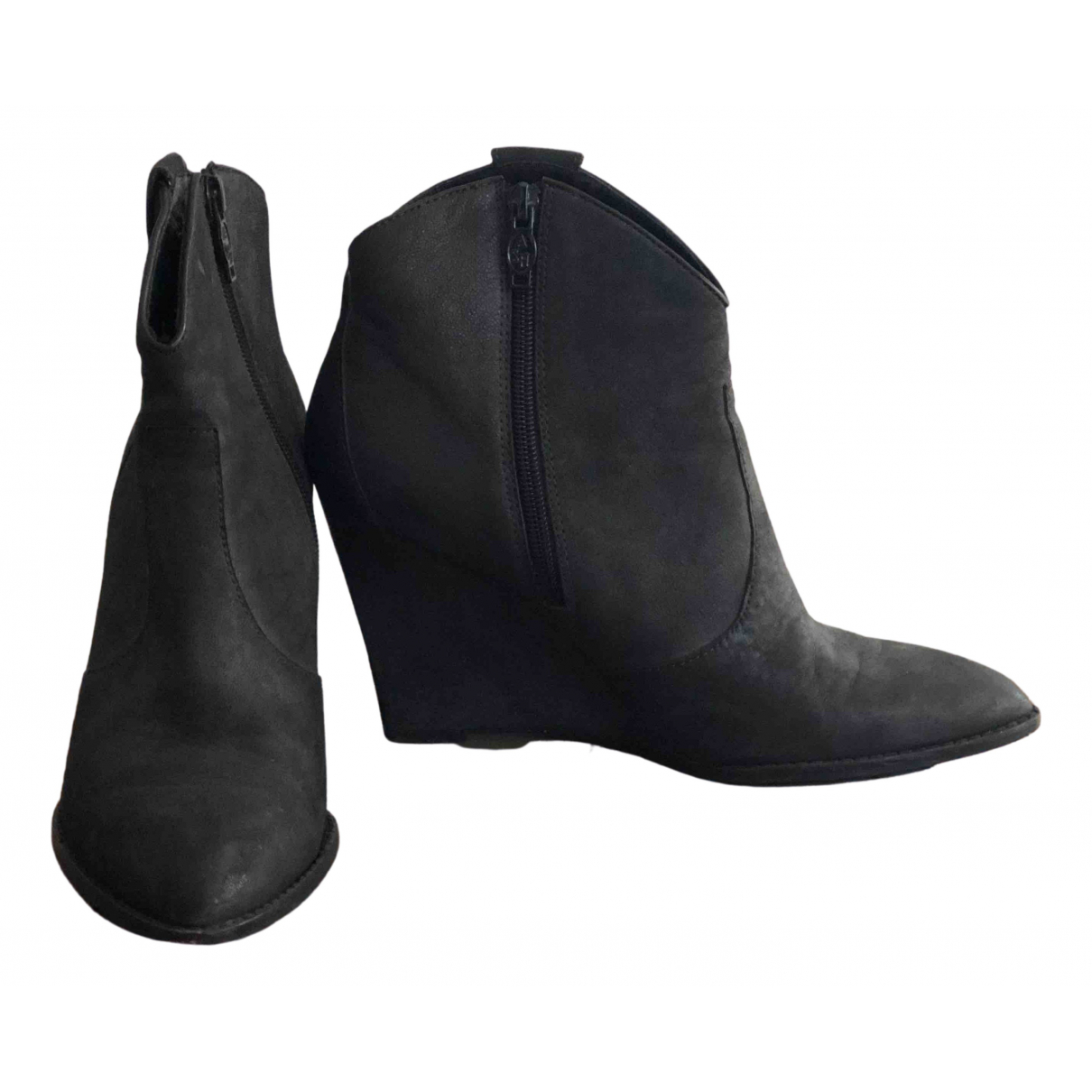 Ash \N Black Leather Ankle boots for Women 40 EU