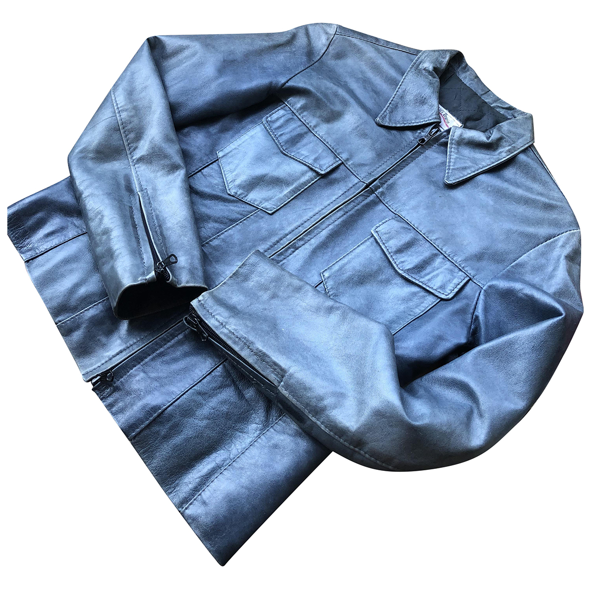 Non Signé / Unsigned \N Blue Leather jacket for Women 42 IT