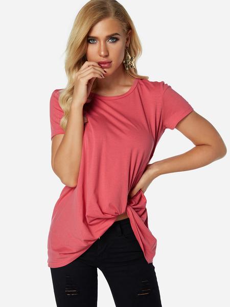 Yoins Rose Pleated Design Round Neck Short Sleeves T-shirts
