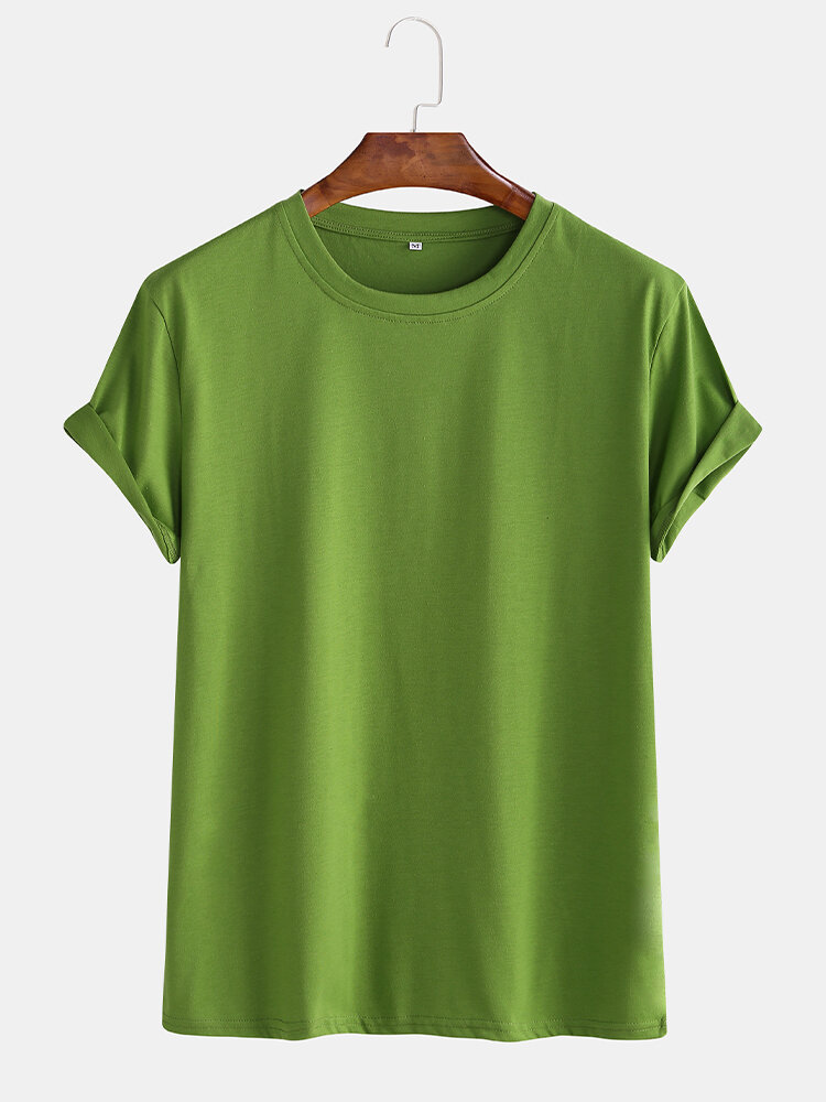Mens Basic Cotton Solid Color Round Neck T-shirt