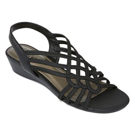 east 5th Womens Reno Wedge Sandals, 7 1/2 Medium, Black