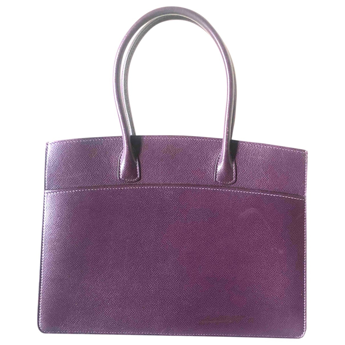 Hermès White Bus  Purple Leather handbag for Women \N