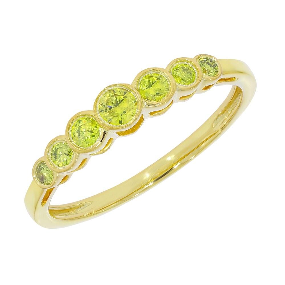 Prism Jewel 0.25 Carat Round Brilliant Cut Yellow Color Diamond 7-Stone Ring (9.5 - N/A - Rose)