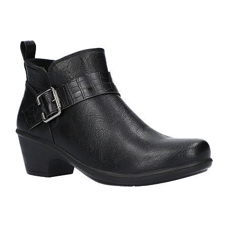 Easy Street Womens Hester Booties Block Heel, 8 1/2 Medium, Black