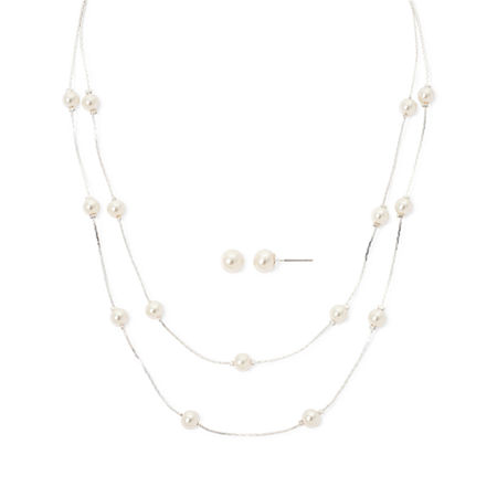 Vieste Simulated Pearl Silver-Tone Illusion Necklace and Earring Set, One Size , White