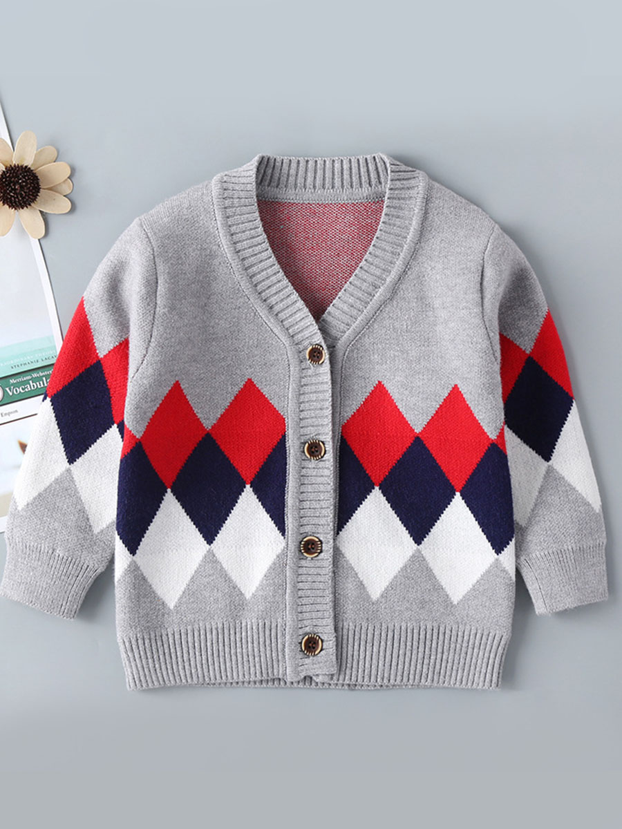 LW lovely Stylish V Neck Print Buttons Design Grey Boy Cardigan