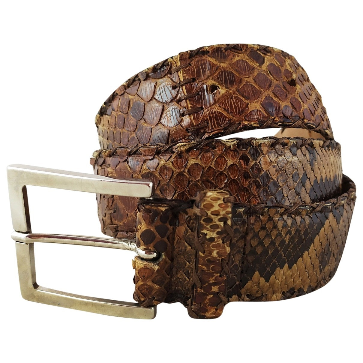 Non Signé / Unsigned \N Brown Python belt for Women S International