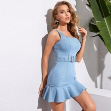 Ruffle Hem Buckle Belted Denim Dress