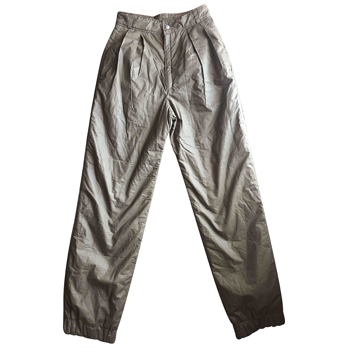 Valentino Garavani \N Beige Cotton Trousers for Women 42 IT