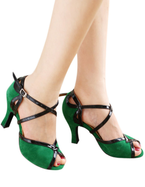 Milanoo Green Peep Toe Color Block Mary Jane Terry Professional Latin Dance Shoes