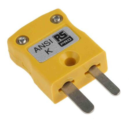 RS PRO ANSI Thermocouple Connector for use with Type K Thermocouple Type K, Miniature, Yellow