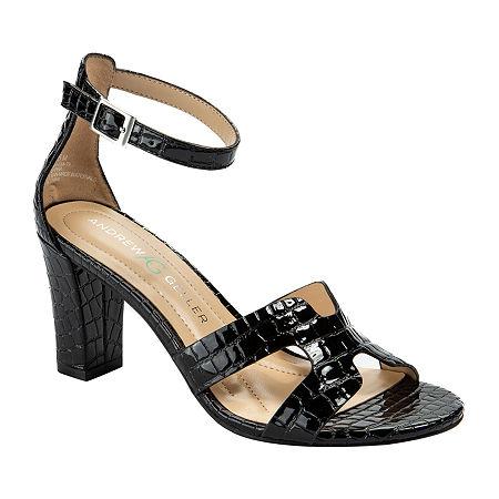 Andrew Geller Womens Quizzical Heeled Sandals, 9 Medium, Black