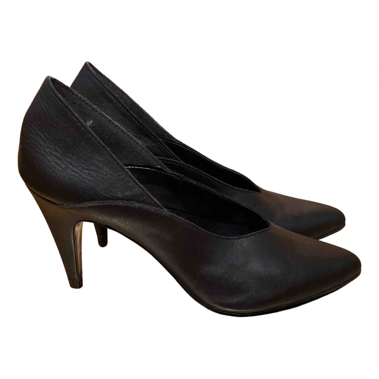 Non Signé / Unsigned \N Black Leather Heels for Women 39 EU