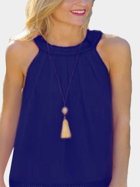 Yoins Navy Hollow Out Back Lace Detail Tank Top