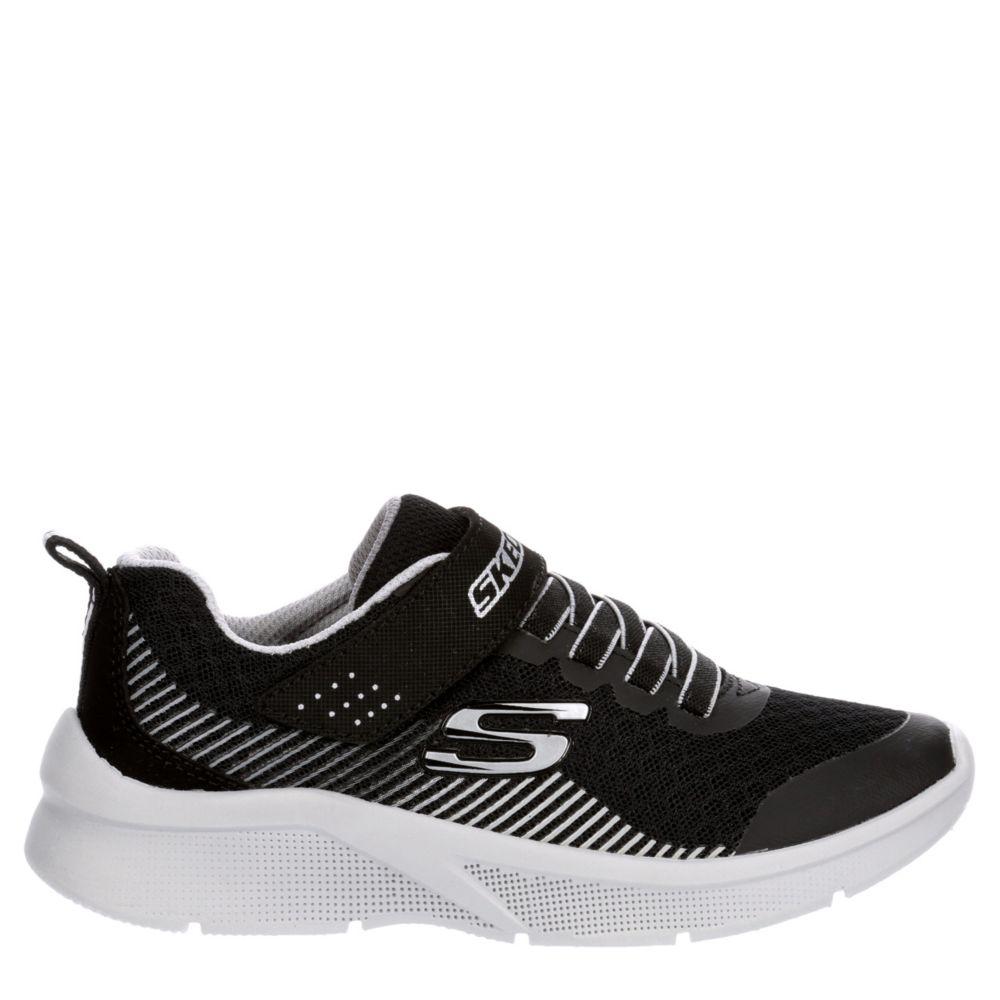 Skechers Kids Boys Microspec-Gorza 97535L Bkgy Velcro Shoes Sneakers