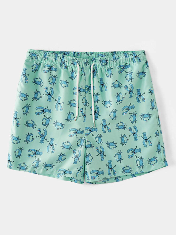 Men Funny Ocean Style Shrimp Printing Shorts Funny Printing Holiday Board Shorts