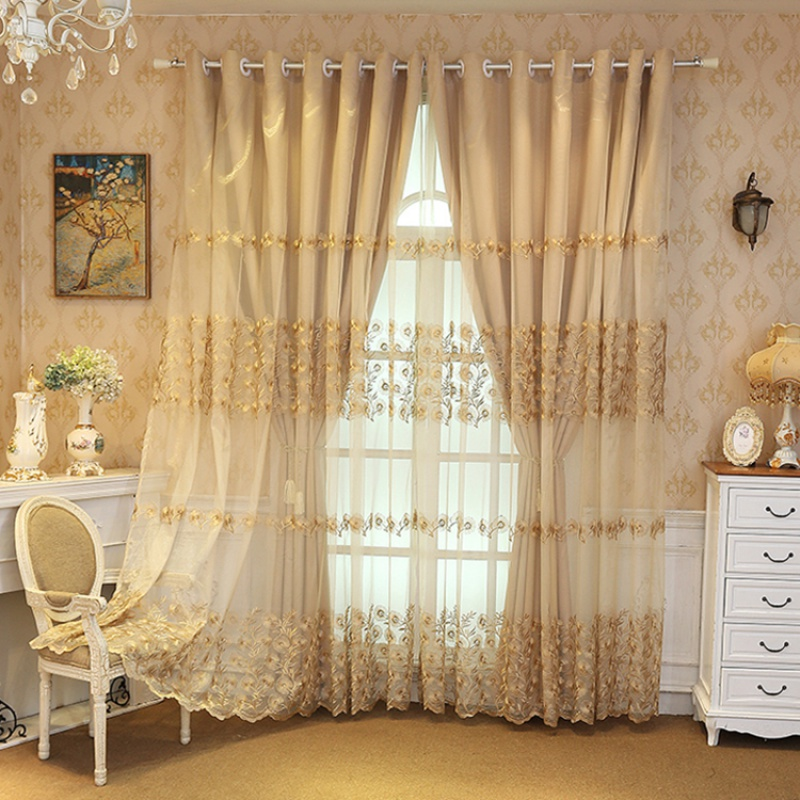 Elegant Ventilate Delicate Embroidered Blackout Curtain Sets for Living Room with Free Tassels Curtain Tie Backs