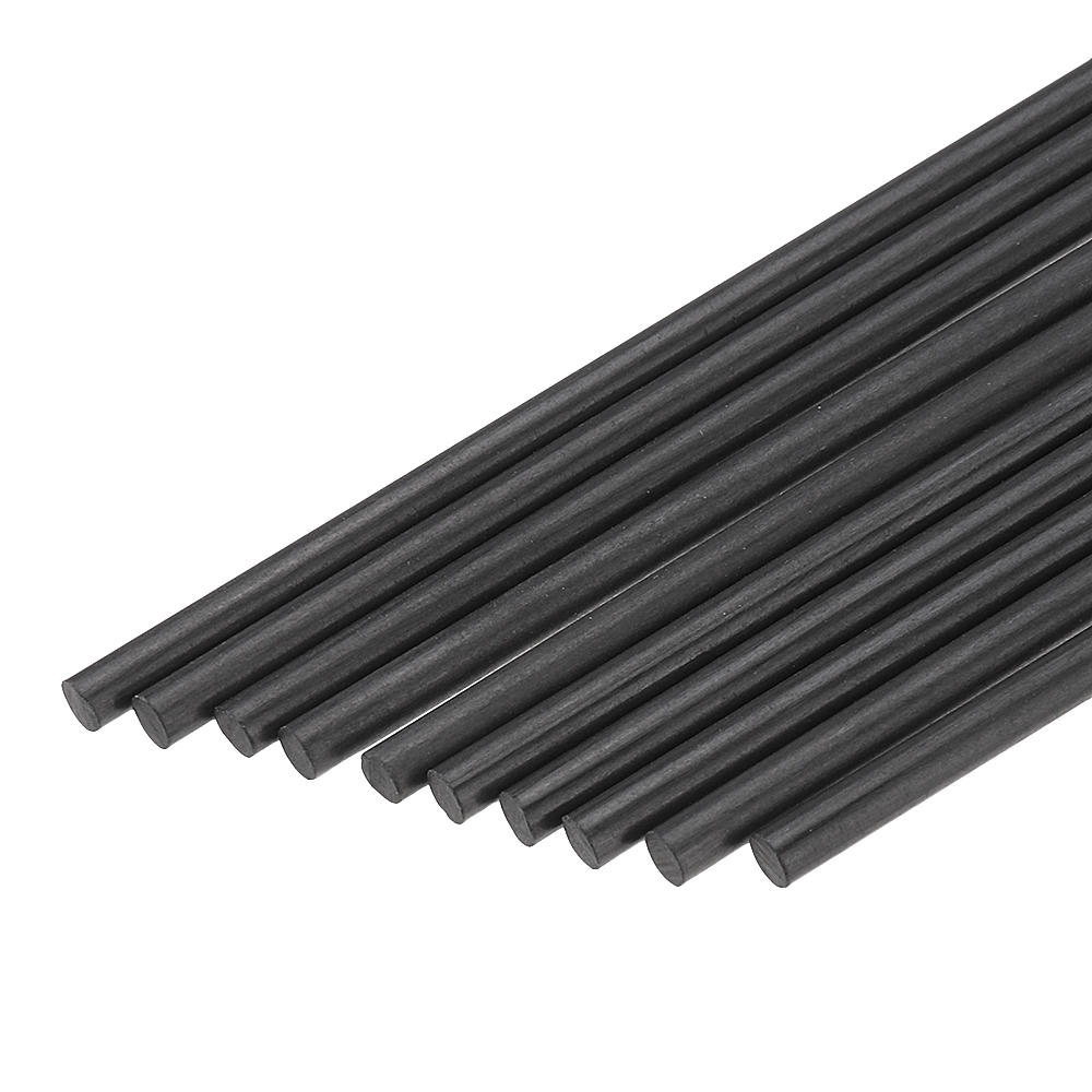 10Pcs/Set 400mm Round Carbon Fiber Rods Roll Bars Wrapped Matt Surface for RC Airplane DIY Tool