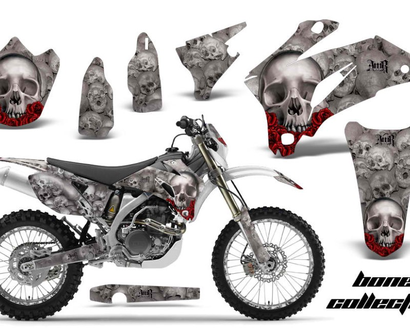 AMR Racing Graphics MX-NP-YAM-WR250F-07-14-WR450F-07-11-BC S Kit Decal Wrap + # Plates For Yamaha WR250F 2007-2014 WR450F 2007-2011áBONES SILVER