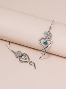 Rhinestone Decor Spiral Design Drop Earrings