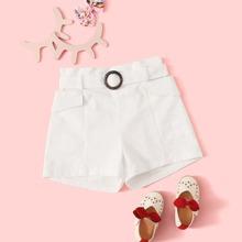 Girls Flap Pocket Belted Shorts
