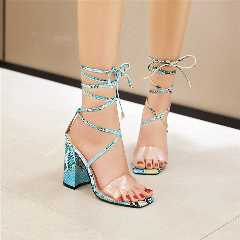Ericdress Square Toe Ankle Strap Chunky Heel Casual Sandals