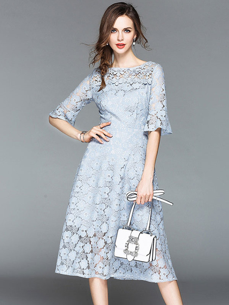 Milanoo Summer Lace Dress Half Sleeve Round Neck Solid Color Long Dress