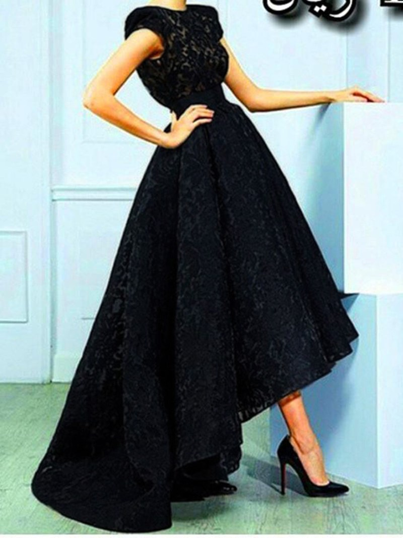 Ericdress Cap Sleeves Lace High Low Evening Dress