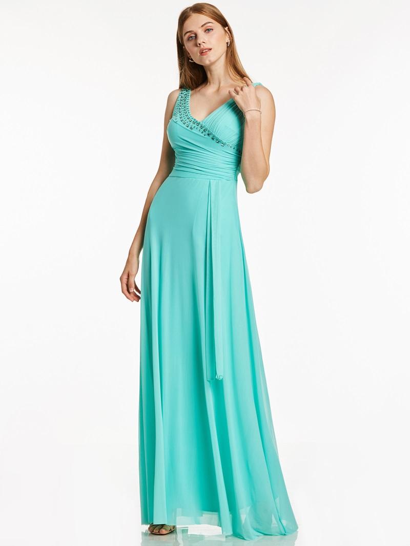 Ericdress A Line V Neck Beaded Pleats Chiffon Evening Dress