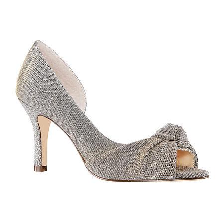 I. Miller Womens Ferna Peep Toe Cone Heel Pumps, 10 Medium, Gray