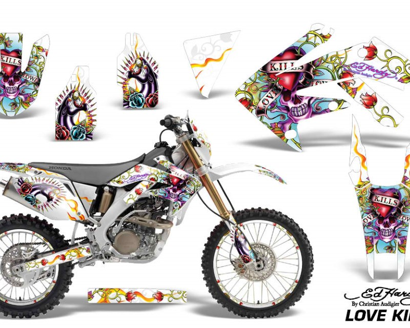 AMR Racing Graphics MX-NP-HON-CRF250X-04-17-EDHLK W Kit Decal Sticker Wrap + # Plates For Honda CRF250X 2004-2017 EDHLK WHITE
