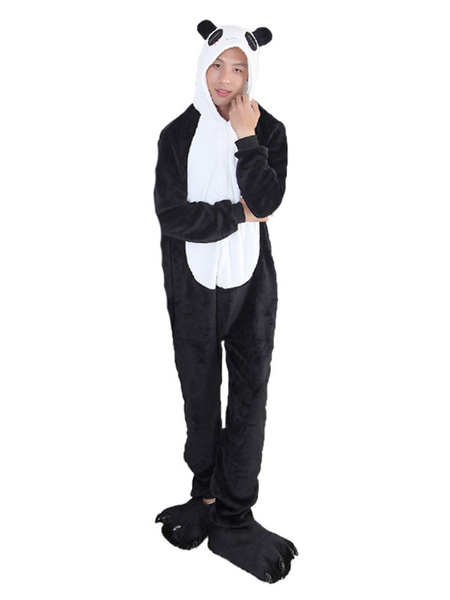 Milanoo Kigurumi Pajamas Panda Halloween Black Flannel Unisex Winter Sleepwear With Footwear Animal Costume Halloween