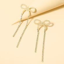 Rhinestone Bow Drop Earrings
