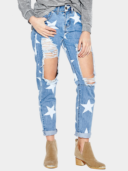 Yoins Blue Ripped Details Star Middle-waisted Jeans
