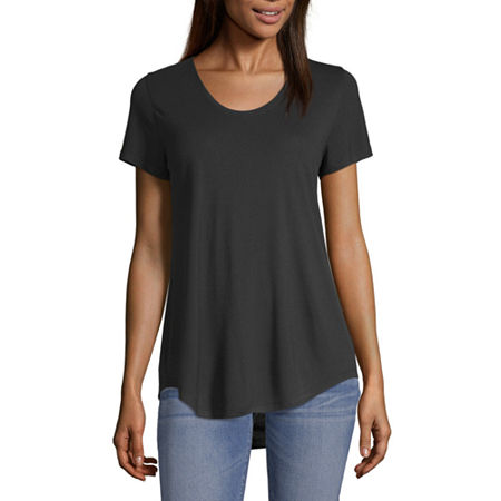 a.n.a-Womens Scoop Neck Short Sleeve T-Shirt, Large , Black
