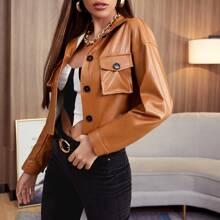 Single Breasted Flap Pocket PU Leather Jacket