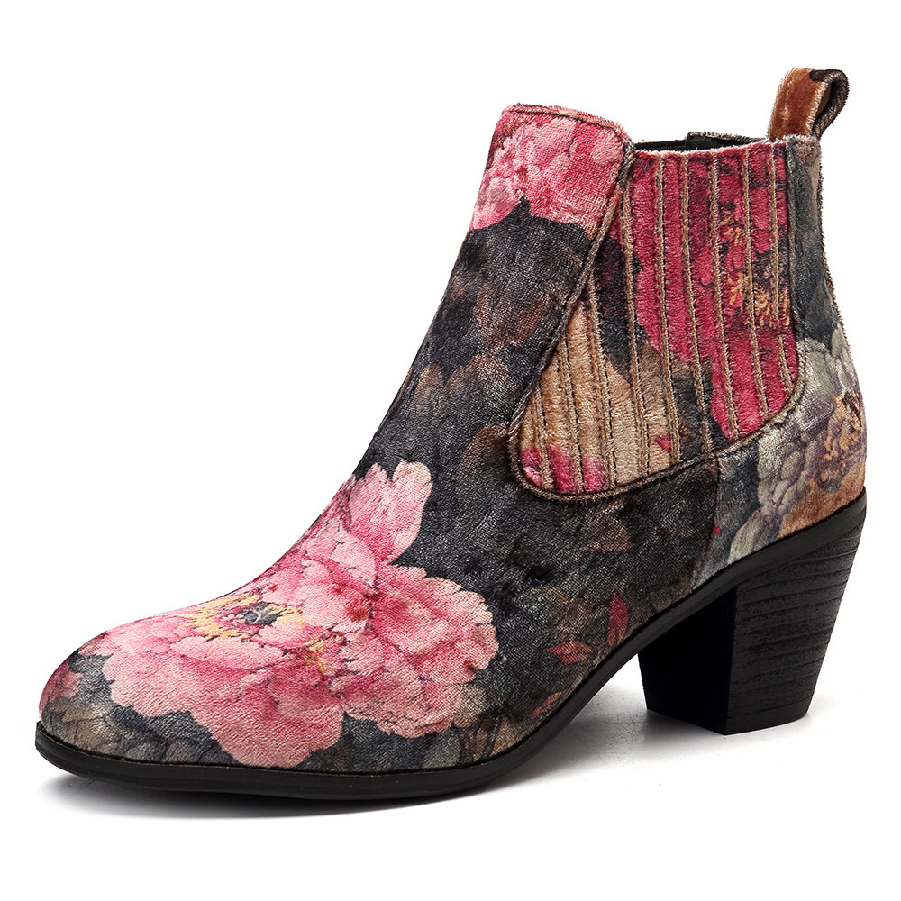 SOCOFY Folkways Bloom Flower Pattern Velvet Cloth Slip On Elastic Band Comfortable Ankle Boots