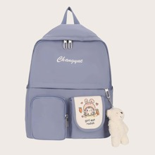Pocket Front Backpack With Bear Charm