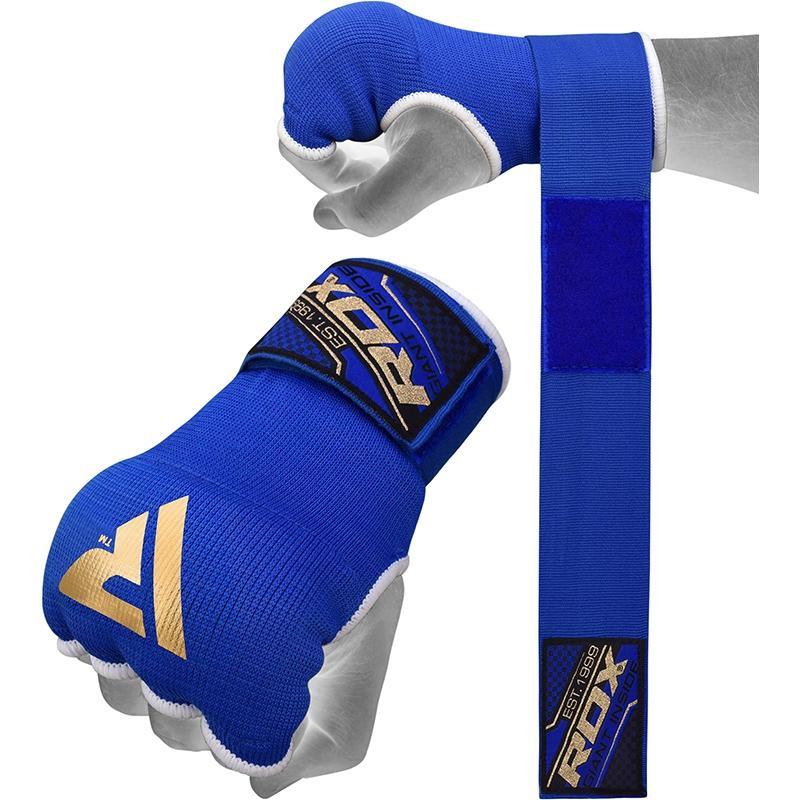 RDX Inner Gloves Gel Padded with 75cm Wrist Wrap Blue Medium