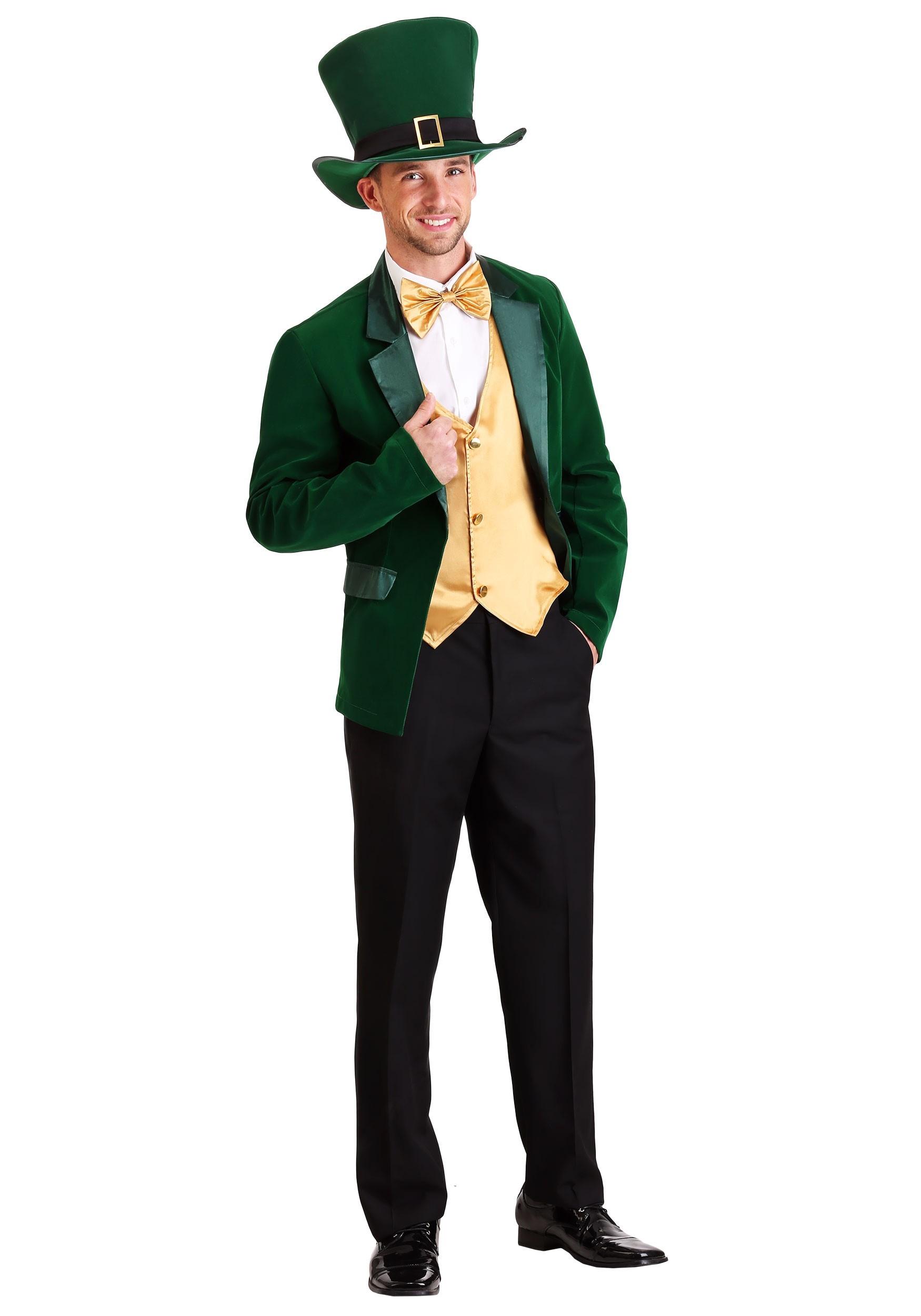Gold and Green Leprechaun Costume for Men
