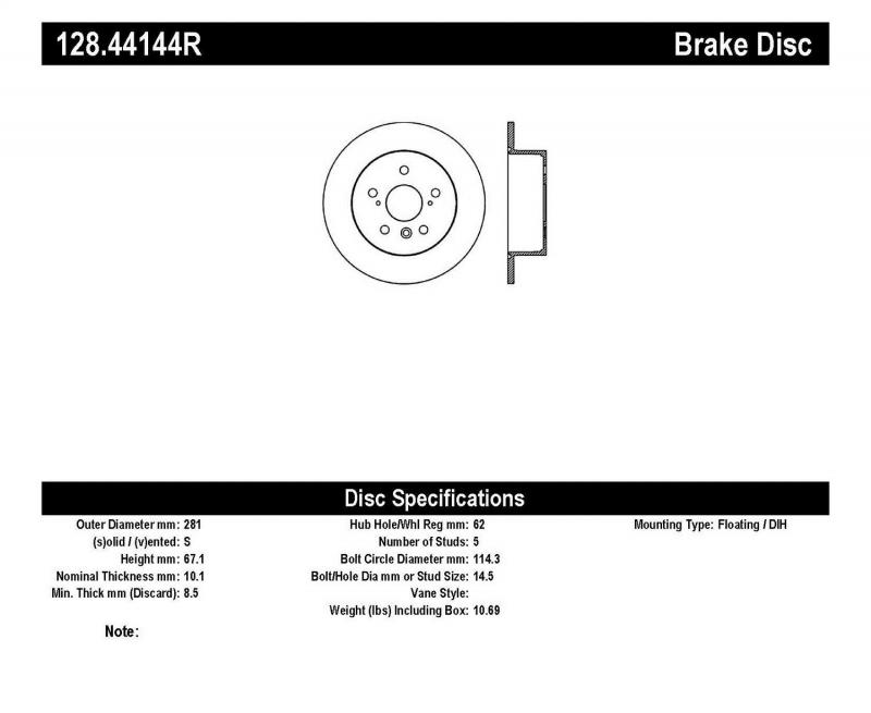 StopTech 128.44144R Sport Cross Drilled Brake Rotor; Rear Right Rear Right