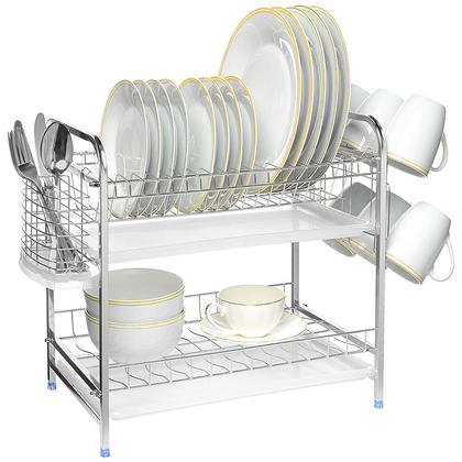 Stainless Steel Dish Drying Rack 2-Tier Plate Bowl Organizer Cup Holder With 2 Drainboards