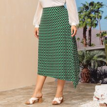 Plus Allover Geo Print Asymmetrical Skirt