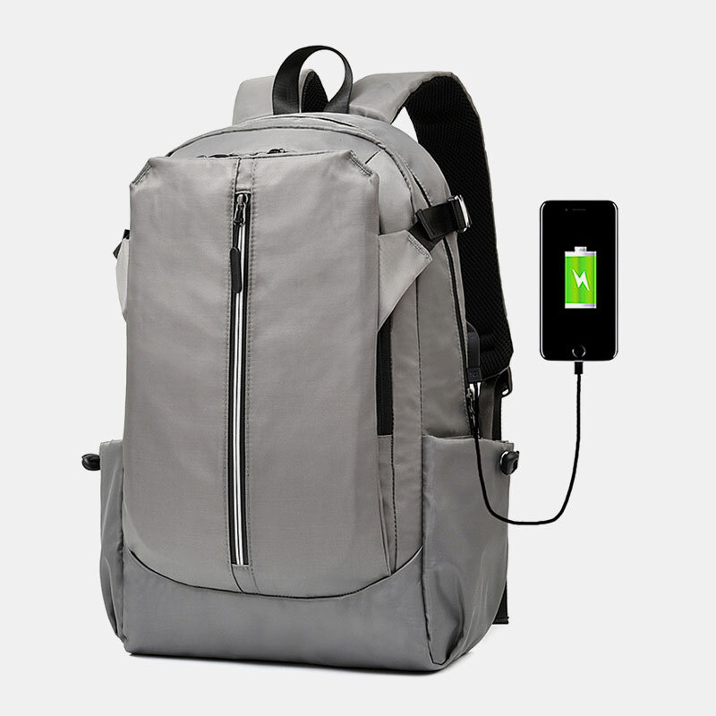 Men Polyester Waterproof USB Charging Large Capacity 15.6 Inch Laptop Bag Backpack