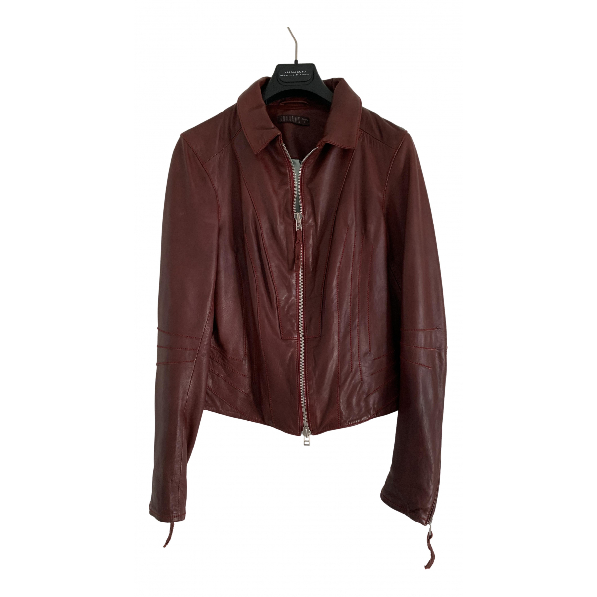Dna \N Burgundy Leather Leather jacket for Women 36 FR