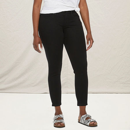 a.n.a-Tall Womens Mid Rise Skinny Ankle Jean, 18 Tall , Black