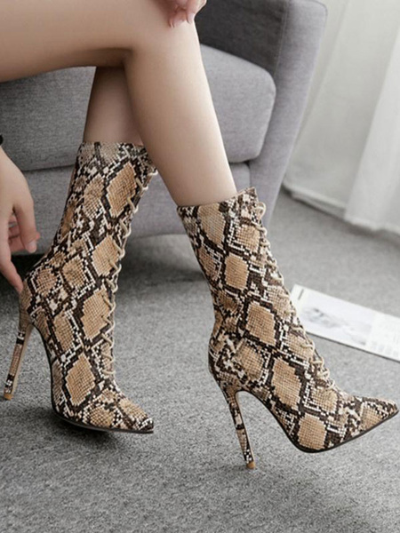Milanoo Brown Ankle Boots Women Pointed Toe Snake Pattern Lace Up High Heel Boots
